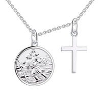 Farjary 925 Sterling Silver Saint Christopher Pendant Necklace