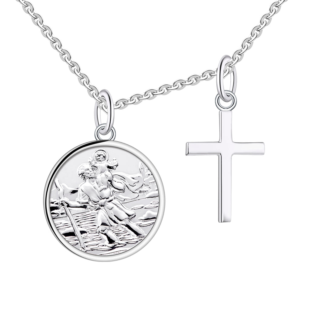 925 Real Sterling Silver St Christopher Pendant MedalVarious Shapes and Sizes