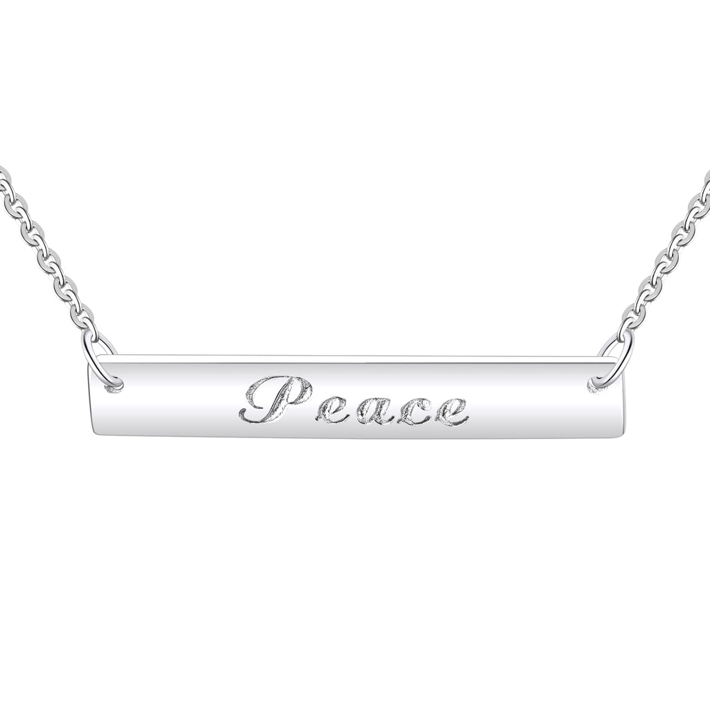 Farjary 925 Sterling Silver Peace Inspirational Bar Pendant Necklace