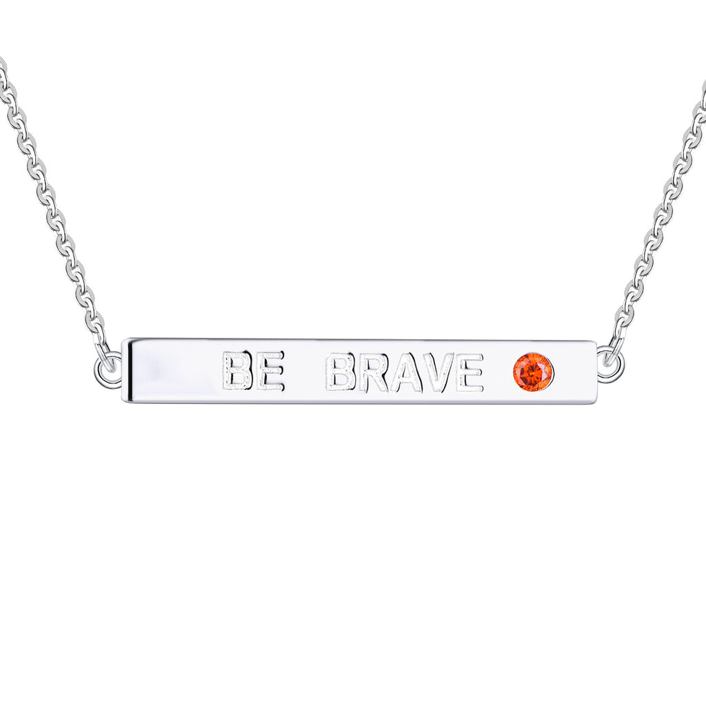 Farjary 925 Sterling Silver Inspirational Bar Necklace Engraved 'BE BRAVE'
