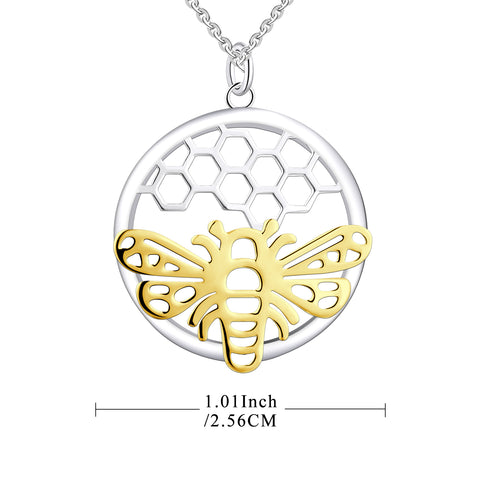 Farjary Silver Honeycomb Disc With a Yellow Gold Plated Bee Pendant Necklace