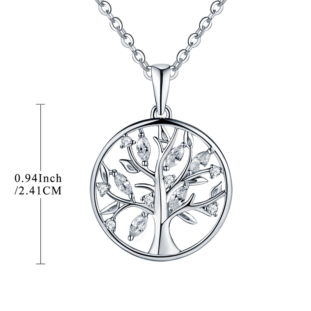 925 Sterling Silver Tree Of Life Necklace With CZ