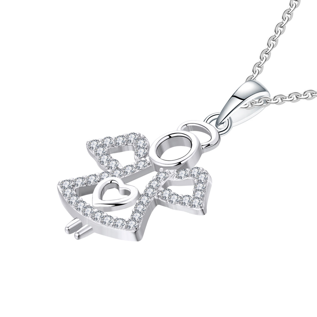 Farjary Solid 925 Silver CZ Guardian Angel Pendant necklace With Heart