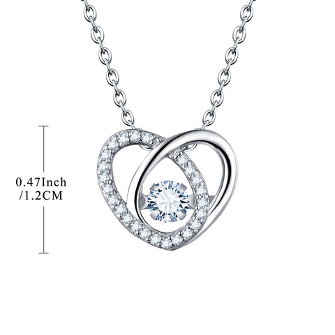 Sterling Silver Heart Necklace With Dancing White CZ