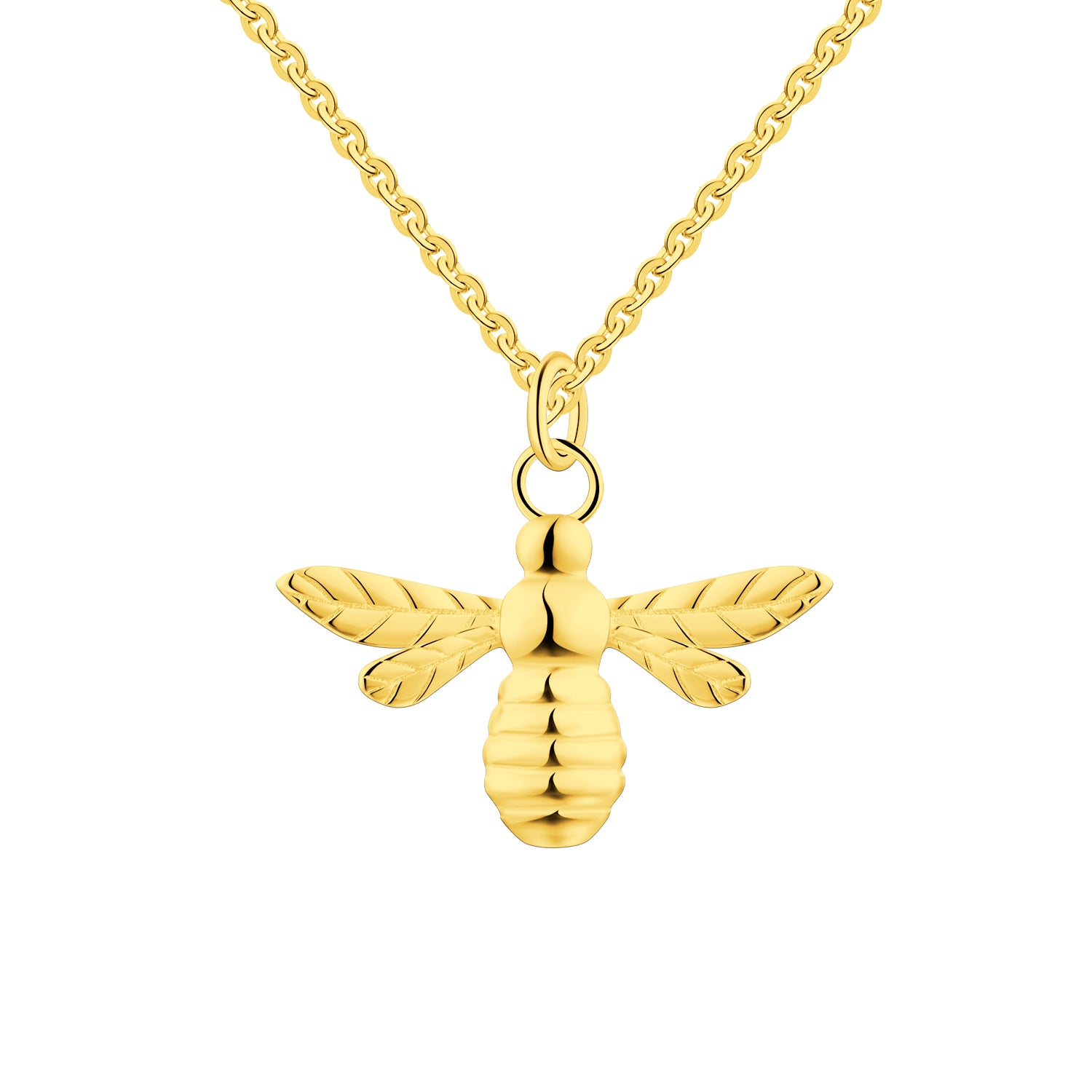 FJ Yellow Gold Little Bee Pendant Necklace