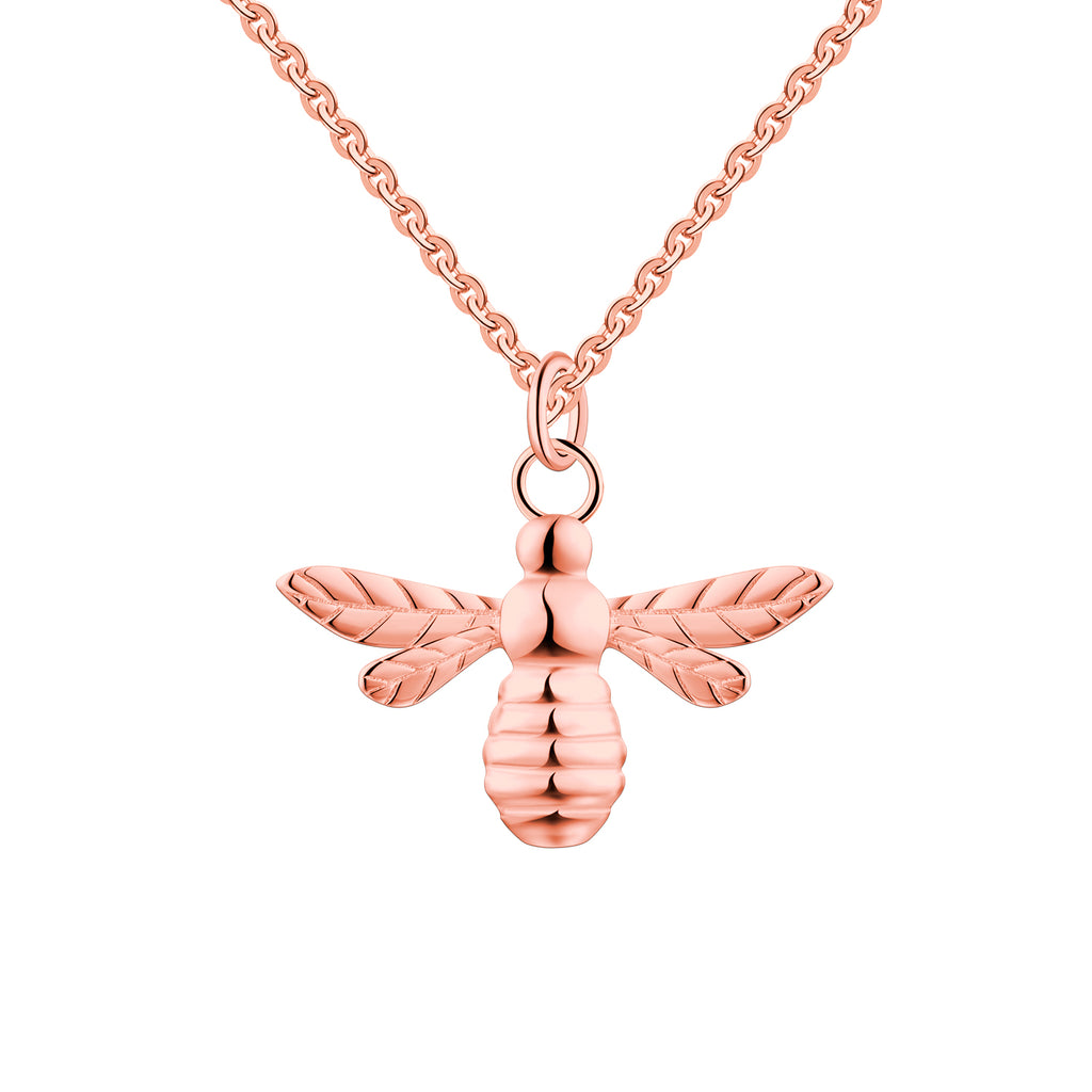 FJ Rose Gold Little Bee Pendant Necklace