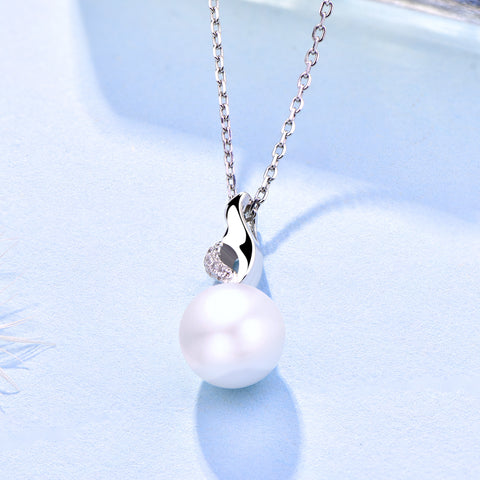 Farjary Pearl Jewelry 925 Sterling Silver Flame Shape Pendant With 9MM Pearl