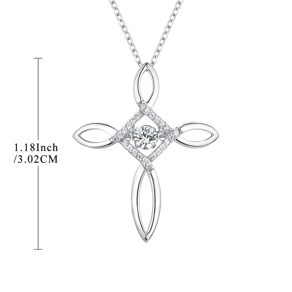 Sterling Silver Cross Necklace Dancing CZ 4 Petals Flower