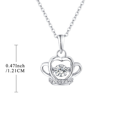 Sterling Silver Crown Necklace With Dancing CZ