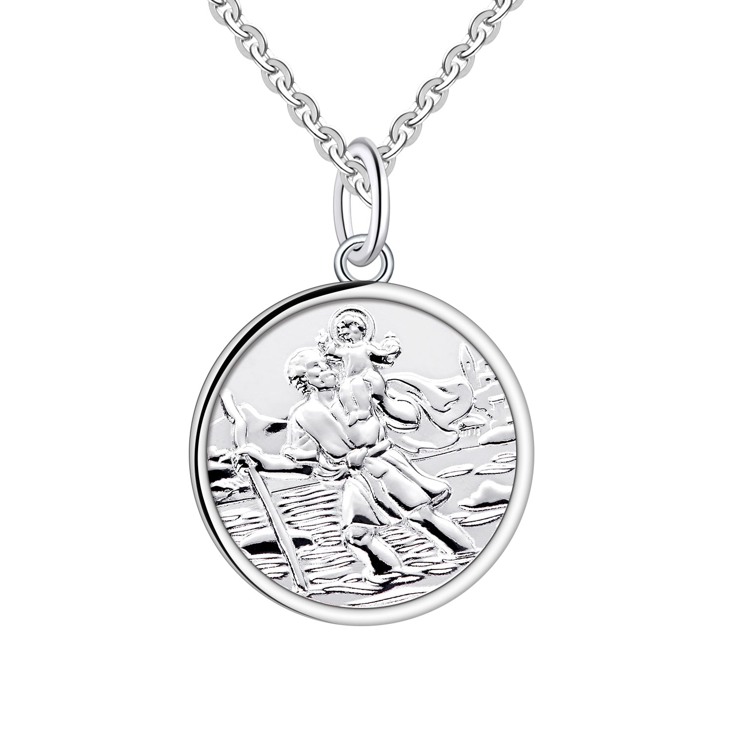 Farjary 925 Sterling Silver Saint Christopher Coin Pendant Necklace