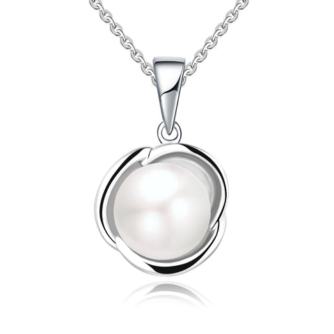 Farjary 925 Sterling Silver 9MM Pearl Flower Pendant With 18 Inch Necklace