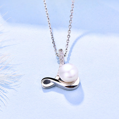 Farjary 925 Silver Medium Letter L With 8MM Freshwater Pearl Pendant Necklace