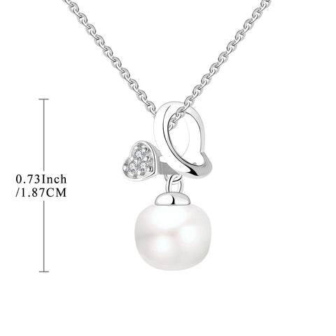 Farjary Solid 925 Silver Butterfly With 9MM Freshwater Pearl Pendant Necklace
