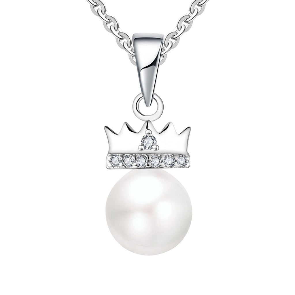 Farjary 925 Sterling Silver Elegant Crown Pendant Necklace With 7MM Pearl