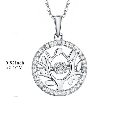 Sterling Silver Tree Of Life Necklace With Dancing CZ