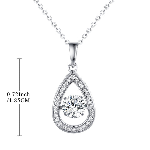 Sterling Silver Teardrop Necklace With Dancing CZ
