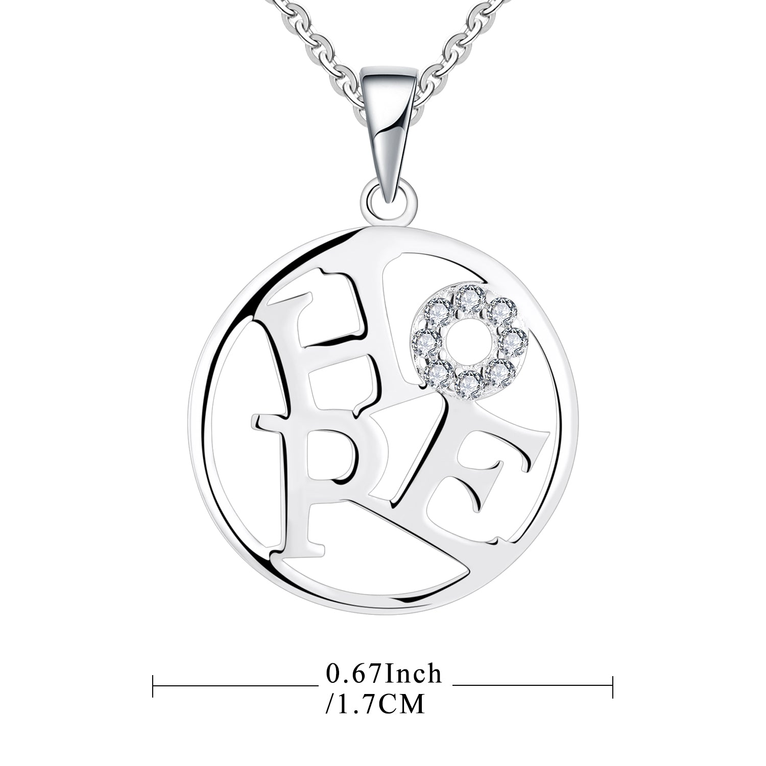 Farjary 925 Sterling Silver Round disc With HOPE Inside Pendant Necklace
