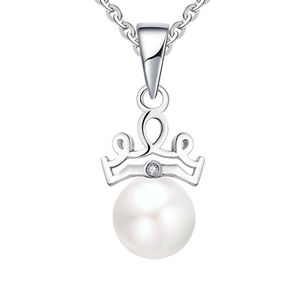 Farjary 925 Sterling Silver 7MM Pearl With Crown Shape Pendant Necklace