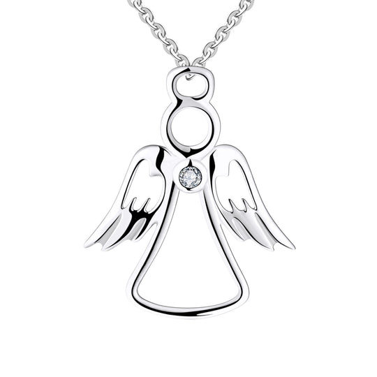 Farjary 925 Silver Metal Guardian Angel Pendant necklace Hold With A CZ