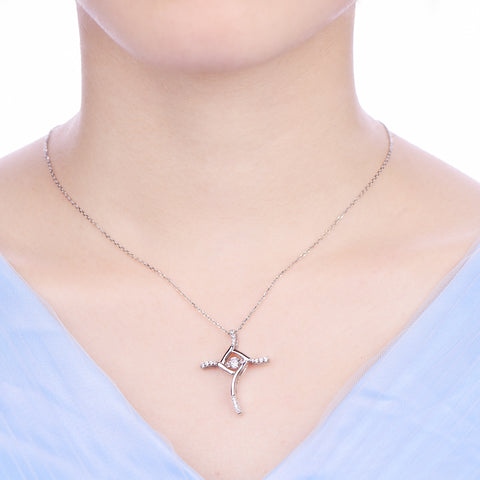 Silver Cross Necklace Dancing CZ Square Design