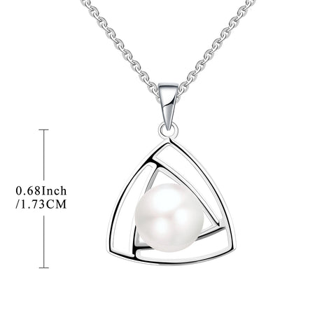 Farjary Pearl Jewellerey 925 Sterling Silver 9MM Freshwater Pearl Triangle Necklace
