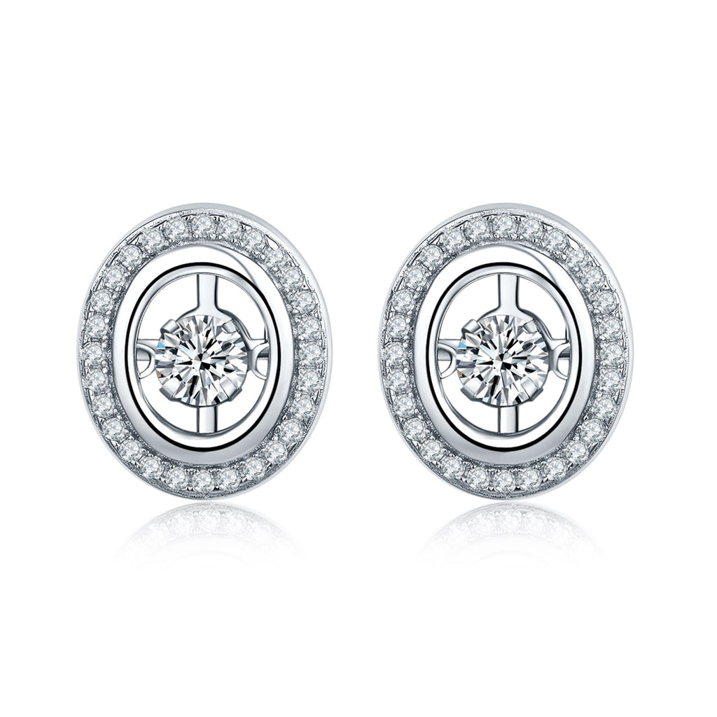 Dancing Silver Round Stud Earrings