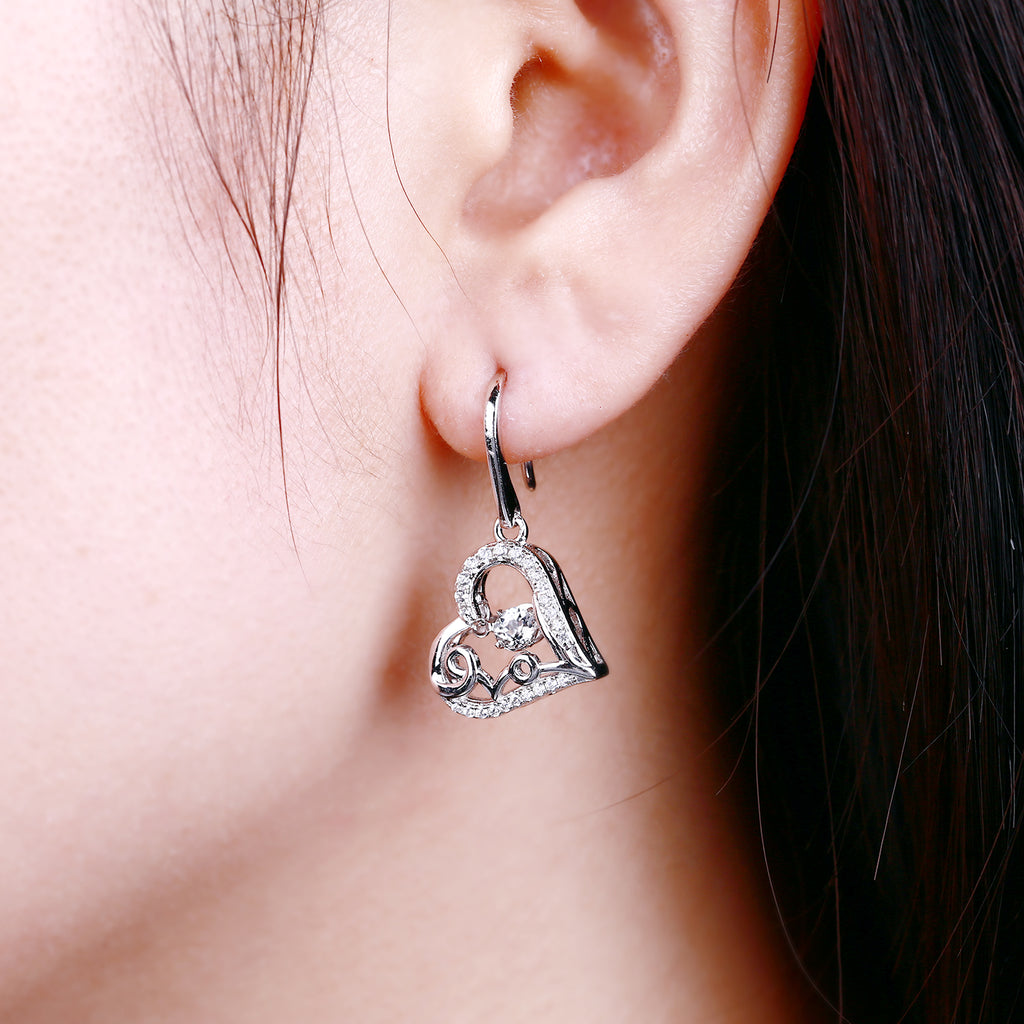 925 Silver Dancing Heart Drop Earring