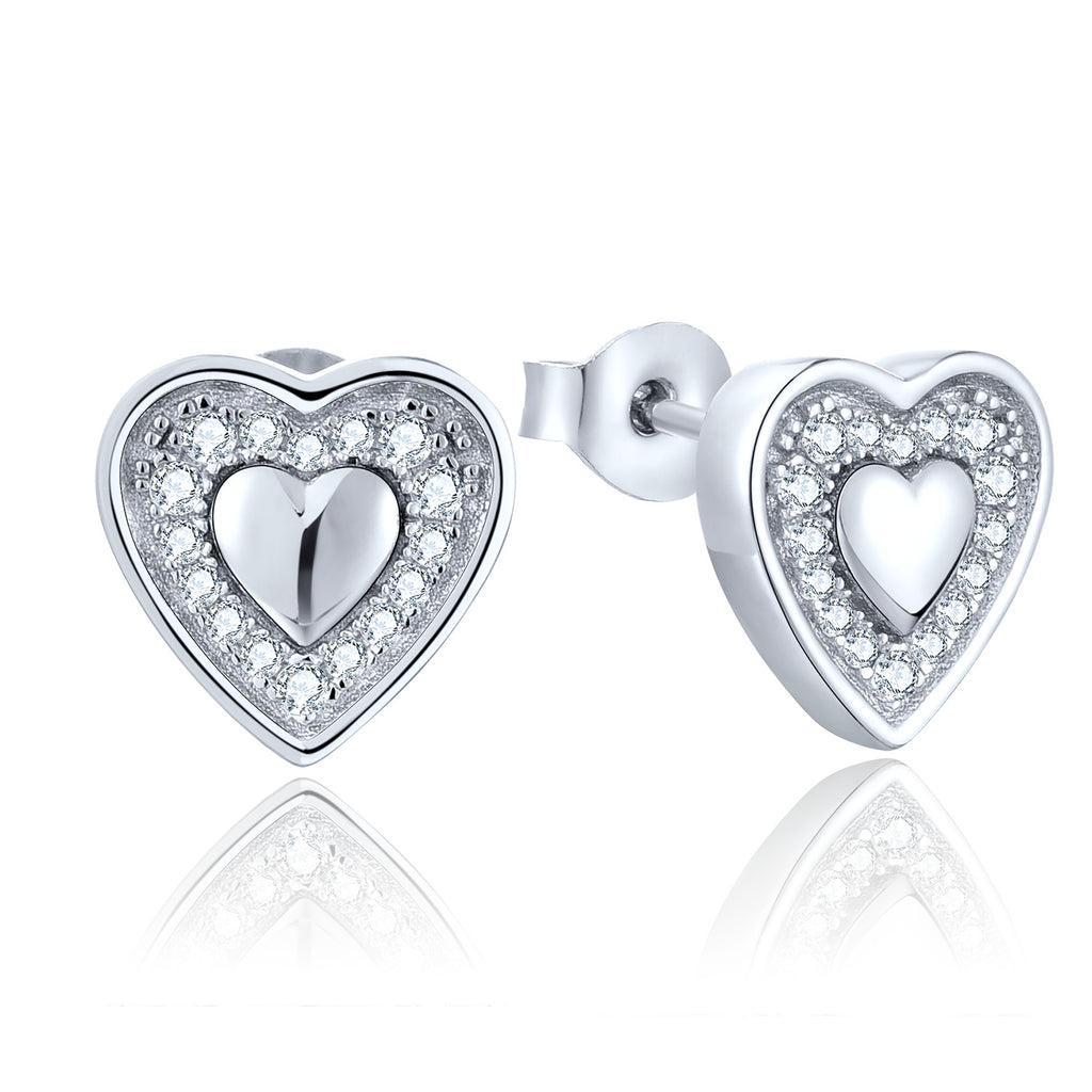Sterling Silver Heart Stud Earrings With CZ Halo