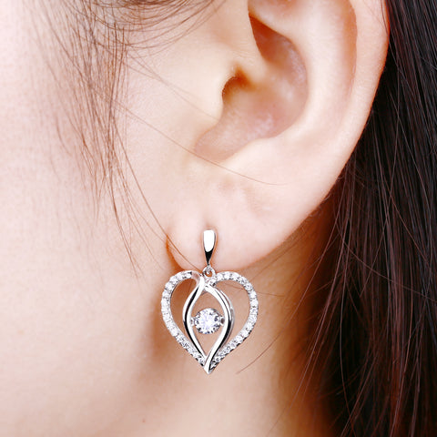 925 Silver Dancing Heart Around Stud Earrings