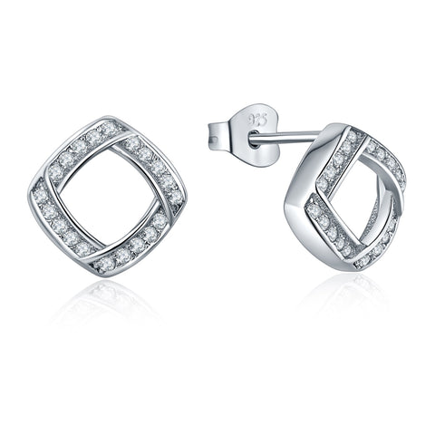 Sterling Silver CZ Square Stud Earrings