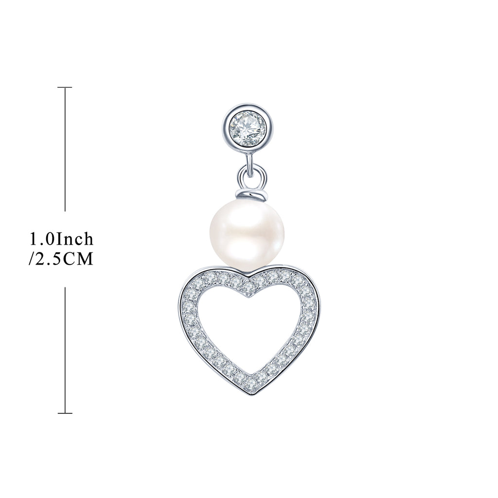Sterling Silver Freshwater Pearl Heart Drop Earrings