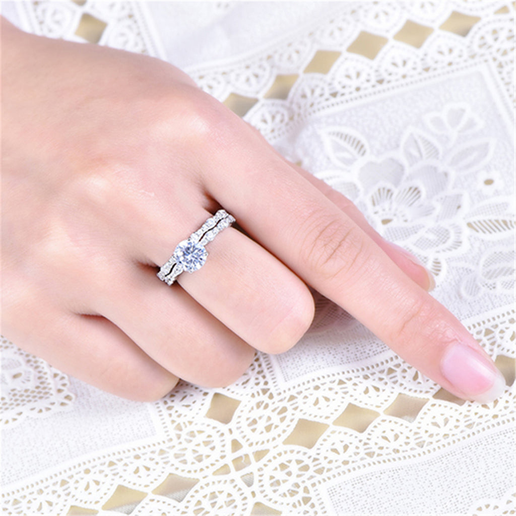 Sterling Silver Solitaires Bridal Set Rings