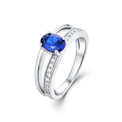 925 Silver Oval Artificial Blue Spinel Split Shank Ring