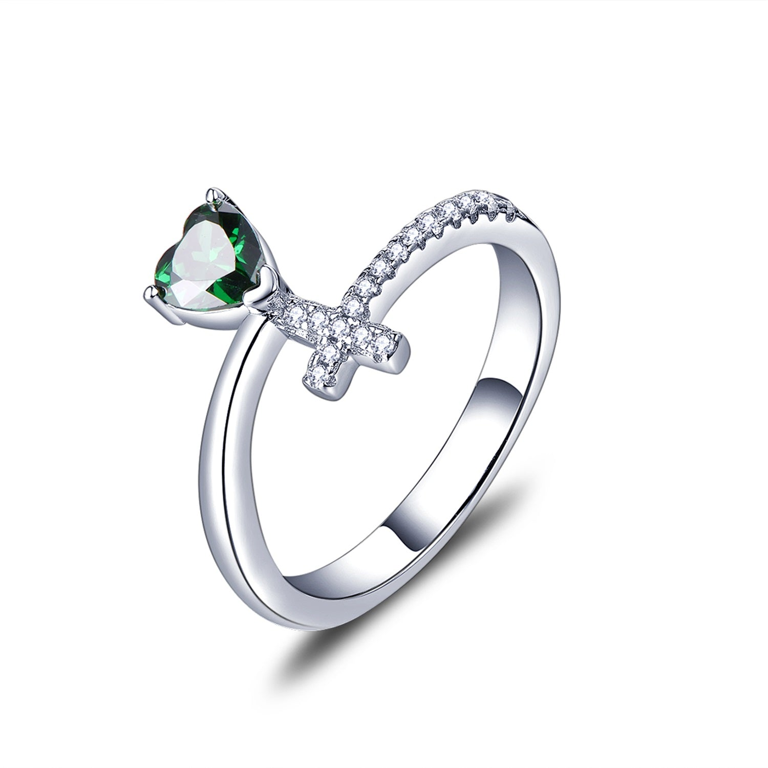 Sterling Silver Cross And Green Heart Ring