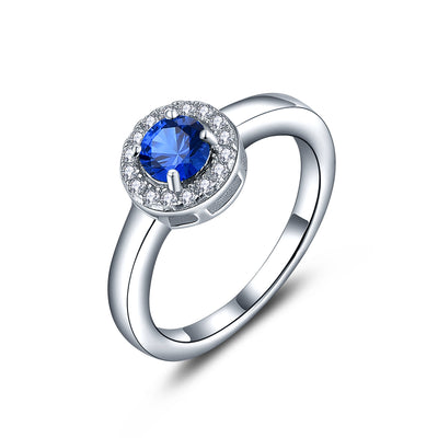 Sterling Silver Artificial Blue Spinel Halo Ring