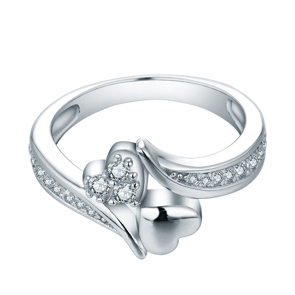 Sterling Silver 2 Heart Curved Band Ring