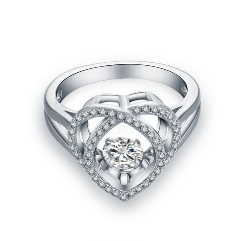 925 Sterling Silver Heart Dancing Ring