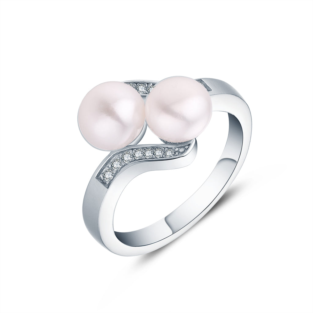 925 Silver 2 Freshwater Pearl Ring