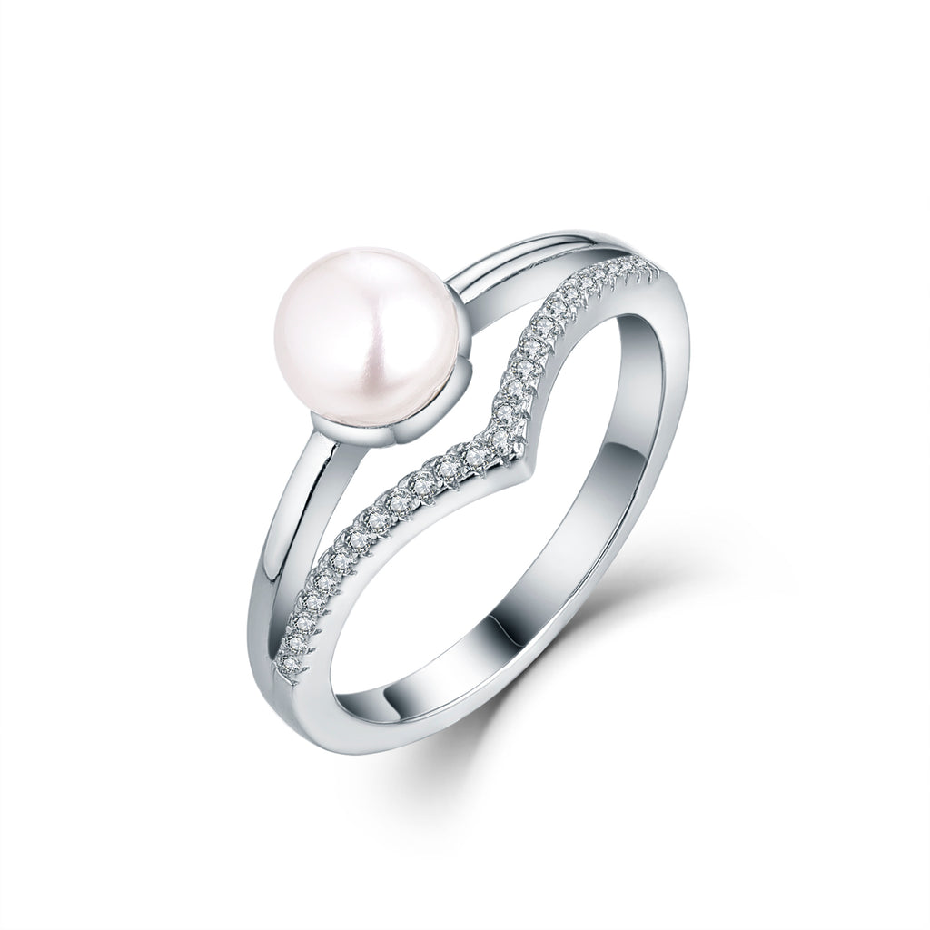 Sterling Silver Curved And Plain Pearl Rings