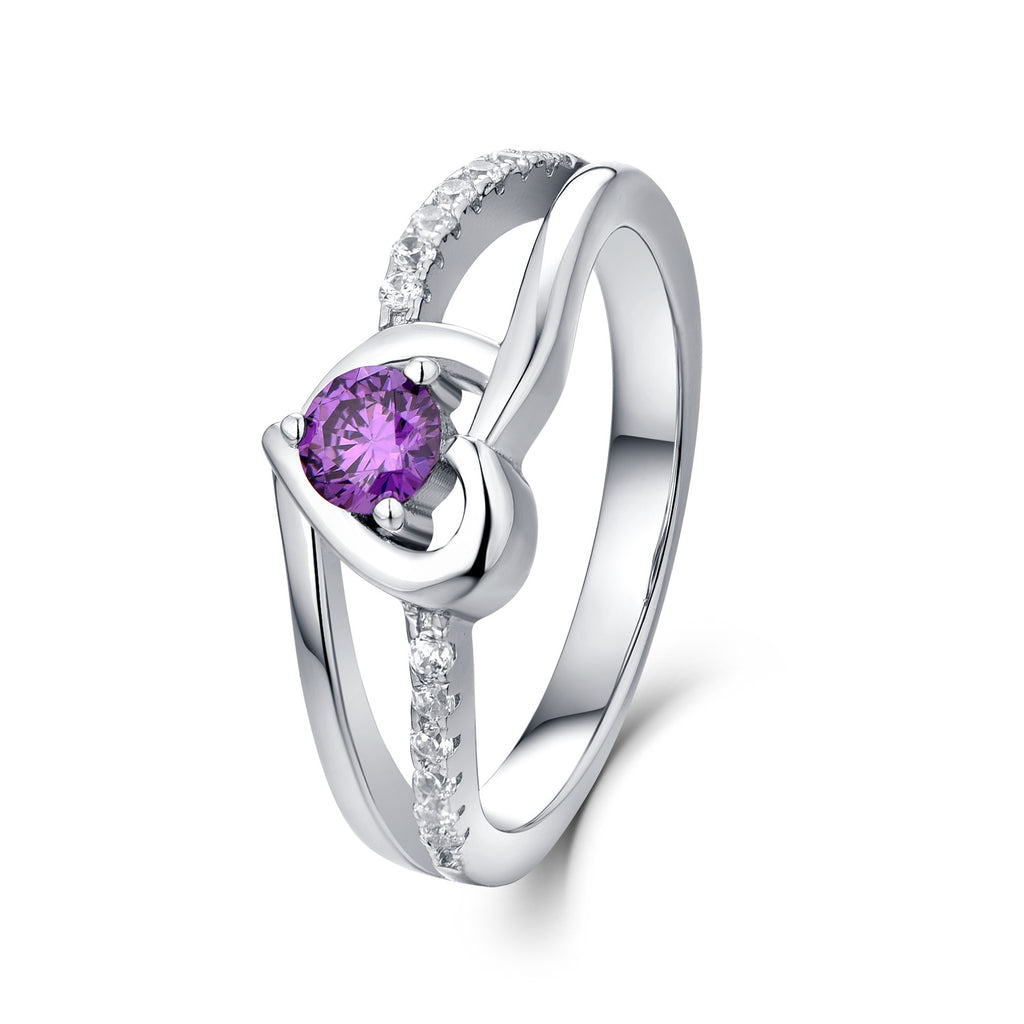 925 Silver Created Amethyst Split Shank Heart Ring With CZ