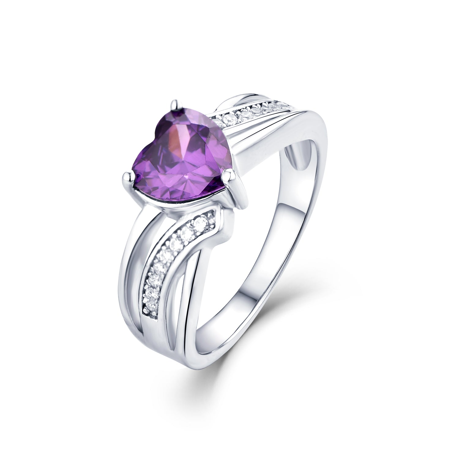 925 Sterling Silver Created Amethyst Heart Ring