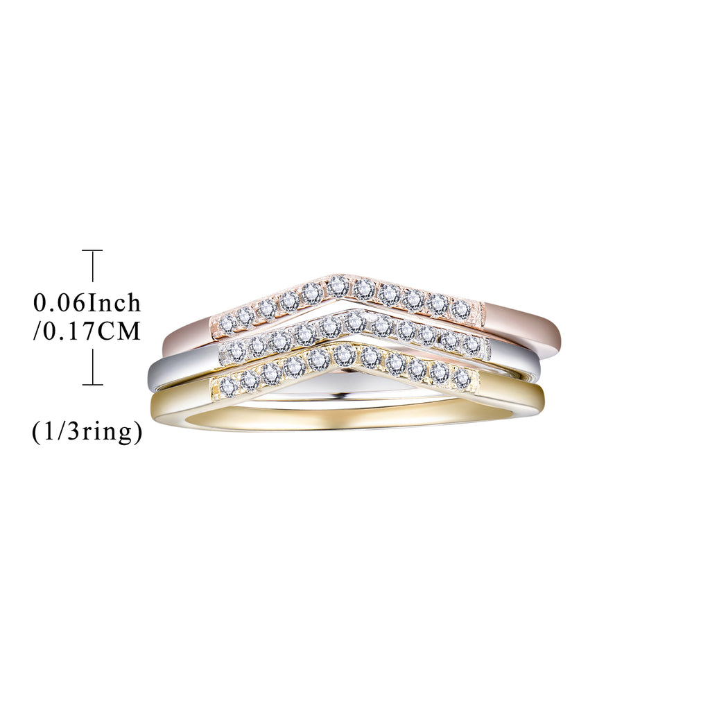 Sterling Silver Cubic Zirconia Bridal Set 3 Colors Ring