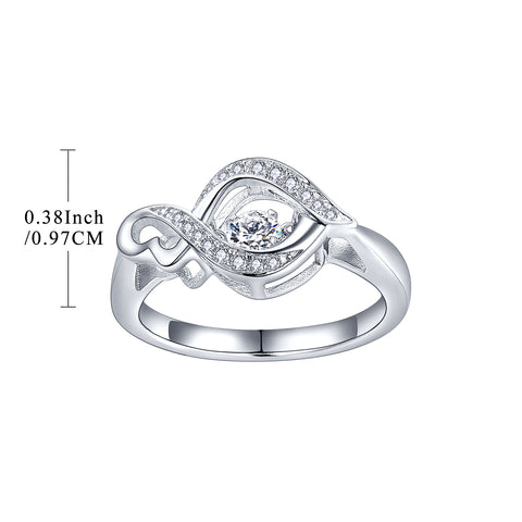 925 Sterling Ribbon Shape Dancing Ring