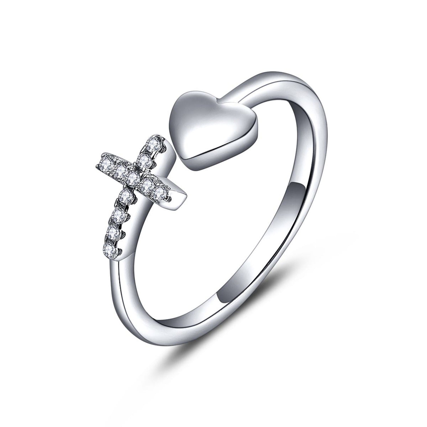 Silver White Cubic Zirconia Cross Heart Ring