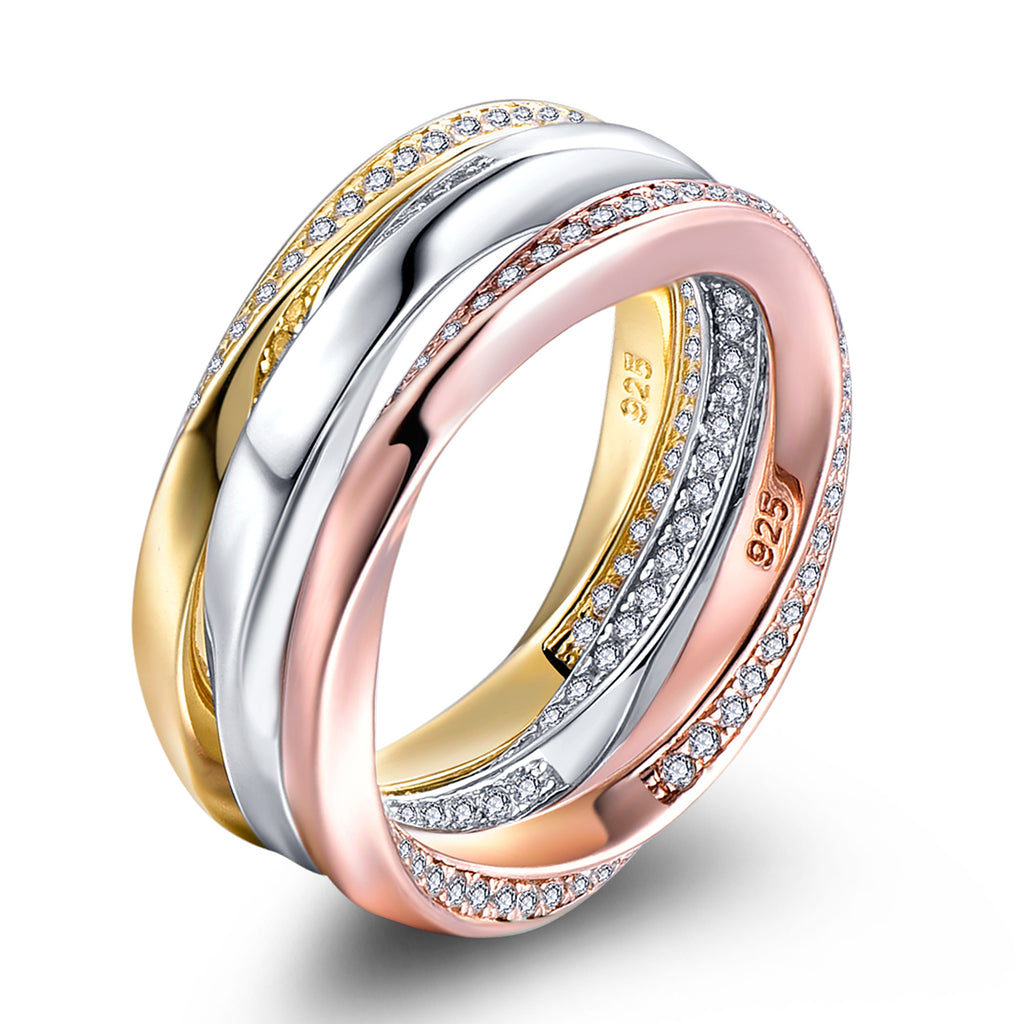 3 Colors Sterling Silver Rings Triple Band Stacking CZ Ring