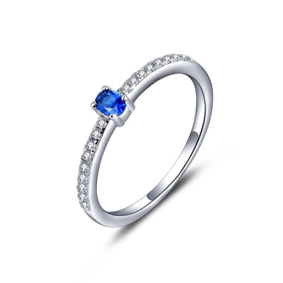 Sterling Silver Cubic Zirconia Simulated Sapphire Ring