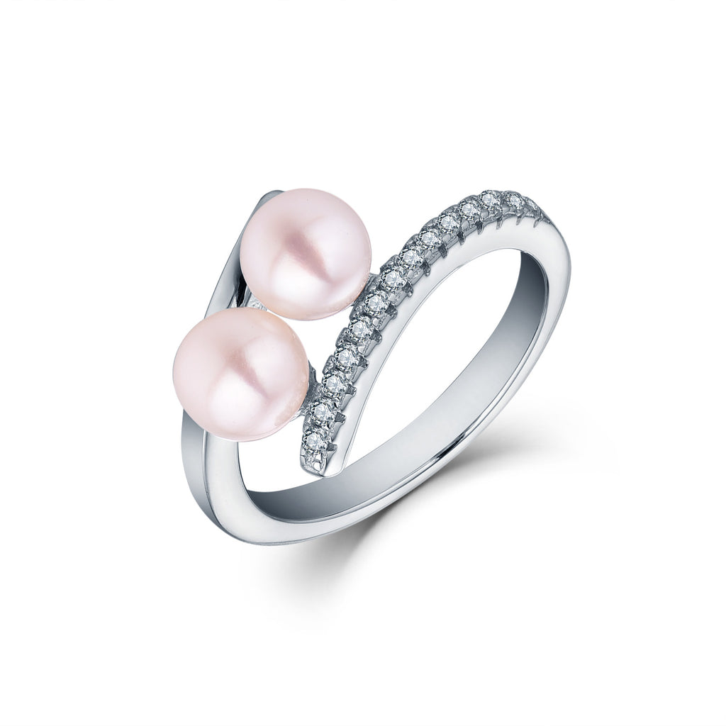 Sterling Silver 2 Freshwater Pearl Ring
