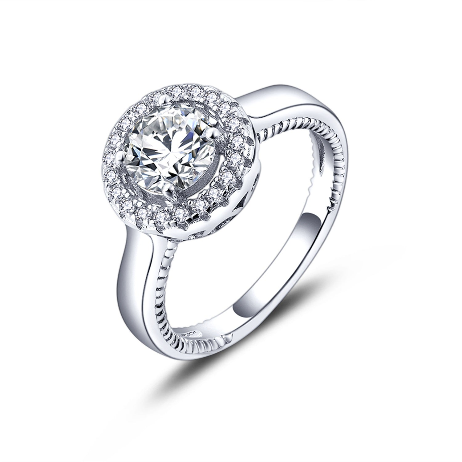 Sterling Silver Engagement Ring with CZ Halo