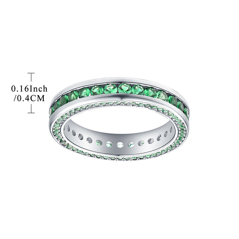 Sterling Silver Created Green Gemstone Eternity Rings
