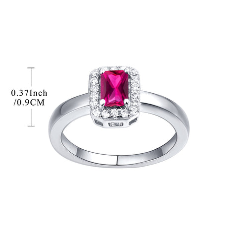 Sterling Silver Baguette Simualted Emerald Ruby Ring